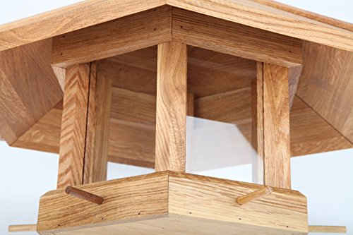 point-garden Vogelhaus XXL Eiche Holz massiv Futterhaus Futtersilo Anflugstangen - 2