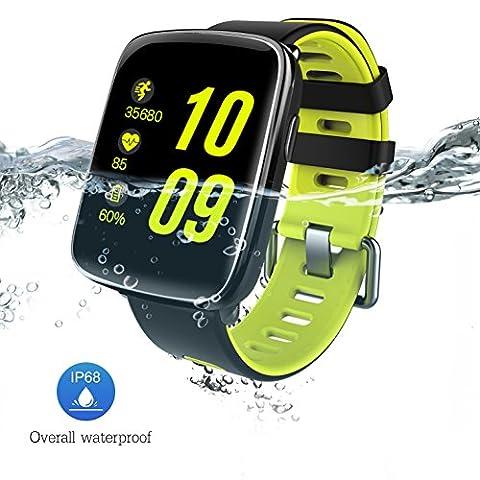Montre Connectée pour iPhone et Android, Bluetooth Smartwatch étanche IP68 Montre Fitness Montre Sport (Cardiofréquencemètre, Podomètre, ) avec Écran Tactile, Réveil, Chronomètre, Appel SMS Afficher, Notification d