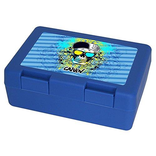 Eurofoto Brotdose mit Namen Calvin und schönem Motiv mit Totenkopf für Jungen | Brotbox blau - Vesperdose - Vesperbox - Brotzeitdose mit Vornamen -