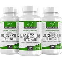 Glicinato de Magnesio 250 mg - 90 Cápsulas Vegetarianas de Magnesio Glicinato | Forma de magnesio