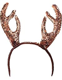 Adult Christmas Fancy Dress Party Xmas Santa Stag Reindeer Horns Sequin Headband