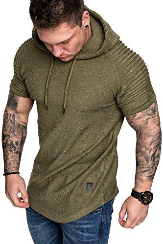 Amaci&Sons Oversize Vintage Herren Biker-Style Kurzarm T-Shirt Kapuzen Sweatshirt 4043 Khaki M Oversize-kapuze