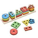 Artoper Farben und Formen Sortierspiel Lernspielzeug Holzpuzzles Geometrisches Stapel Steckspiel für Kleinkind Kinder (5 Farbe)