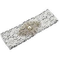 Fablcrew Wedding Bridal Garter Pearl Belt with Rhinestones Pearl Wedding Accessories White