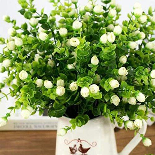 QYYDGH Retro Elegante schöne Mini Seide Künstliche Rosenblüten Kunstplastik Blätter Faux Büsche 30 Köpfe Outdoor Garten Dekoration Weiß Zaun Wand Dekor Weiß (Wand-dekor Zaun)