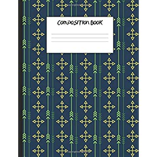 Composition Book: Green Arrows on Dark Blue, 200 Pages, Wide Ruled (7.44