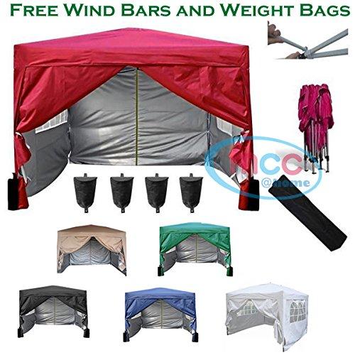 Mcc@home Gazébo/kioske/pavillon/ tente/tonnelle/auvent/abri de jardin résistant à l'eau, 3x3m, couleur rouge avec couche protectrice argentée, 2 barres pare-vent et sacs de lestage