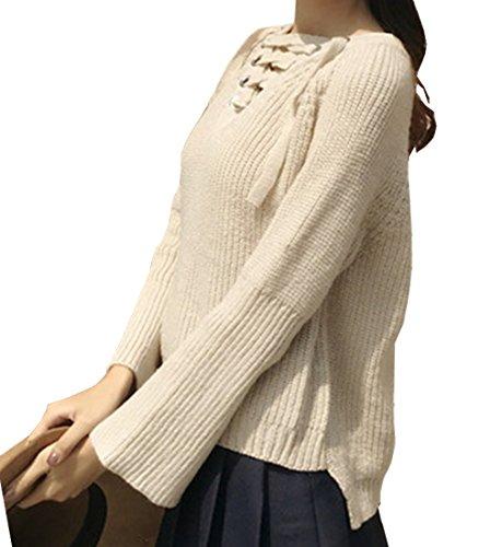iMELY Damen Pullover Casual Rücken Tief V Ausschnitt Bandage Strickpullover Langarm Loose Sweater einzel Grösse (Size:36-40) Beige