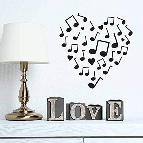 jiuyaomai Design Pattern Modern Ornamental Shape Musik Note Love Vinyl Wandaufkleber Für Süße Wohnzimmer Kunst Decals Murals schwarz 42X42 cm