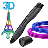 Plumas para impresión 3D, SUNLU 3D Pluma Inteligente Pen Bolígrafo de Impresión Estereoscópica con Soporte de Seguridad para Crear y Modelar Figuras 3D Compatible (A)
