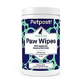 Petpost | Lingettes essuie pattes pour chien - Lingettes nettoyantes, hydratantes et revitalisantes pour pattes de chien à l'huile de coco, à l'huile de jojoba et à l'aloe vera - 70 lingettes