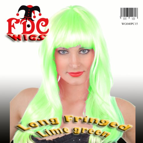 FDC Katy Perry California Girls Style Long Fringed Wig Lime Green