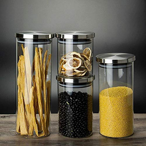 Yamybox Straight Tea cans, high Boron Gas Tight cans, Stainless Steel can lids, Sealed Food Storage Tanks, Glass Jars,85X150mm 750ml