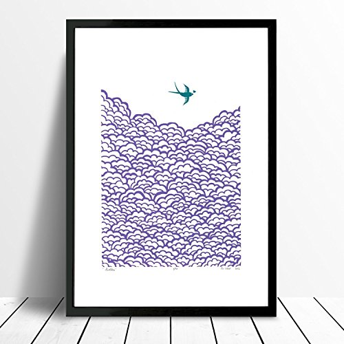 swallow-print-in-amethyst-and-biscay-bay-a3-size