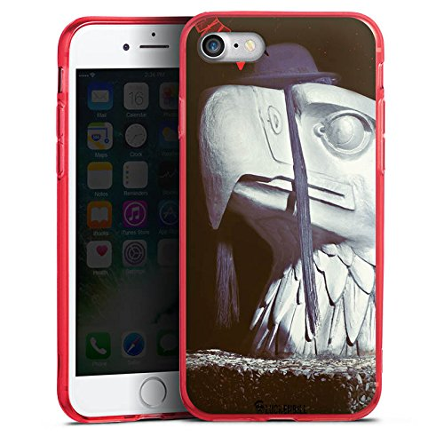 Apple iPhone 8 Silikon Hülle Case Schutzhülle Roboter Statue Adler Silikon Colour Case rot