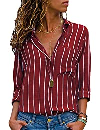 Aleumdr Womens V Neck Stripe Long Sleeve Loose Fit Button up Color Block  Blouses Tops 6ecad3e40