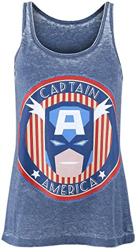 Captain America Burnout Washed Top donna blu S