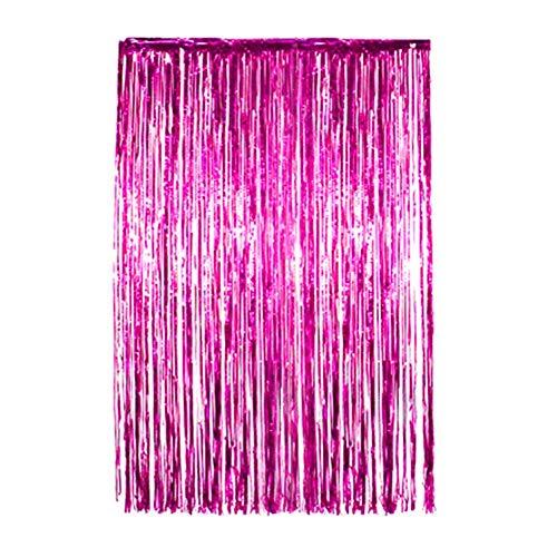 Starter Folienvorhang - Regenvorhang Ziehen Blume 1 * 2 Meter Parteihintergrundfolienvorhang Rosagoldrosaregen