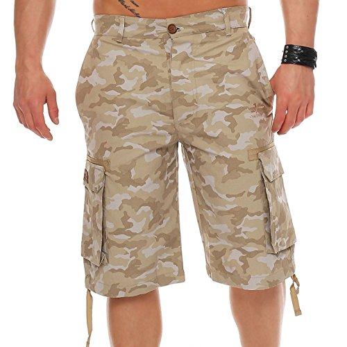 fFinchman Cargo Finch Short Short bermuda pour homme Coupe large décontractée bermuda Loisirs Camouflage Camobeige