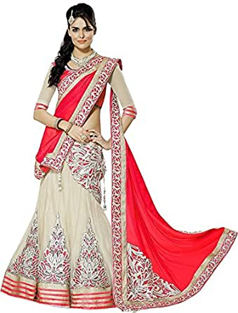 shiroya brothers Women Faux Georgette Embroidered Lehenga Choli (SB_Pink Lengha_Pink & Off White_Free Size)