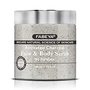 FABEYA Biocare Natural Activated Charcoal Face and Body Scrub,340Ml - Set of 1