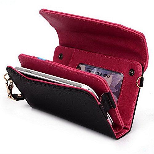 Kroo Pochette Golunski Lien de série universel avec bracelet femmes portefeuille sac à main de transport pour Alcatel One Touch Scribe X/HD/HD/LTE/Facile Étui pour téléphone portable Magenta and Grey Black and Magenta