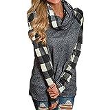 ZIYOU Damen Rollkragen Pullover Plaid, Herbst Winter Frau Freizeit Langarm Sweatshirt Pulli Outwear T-Shirt Tops (Schwarz, XL)