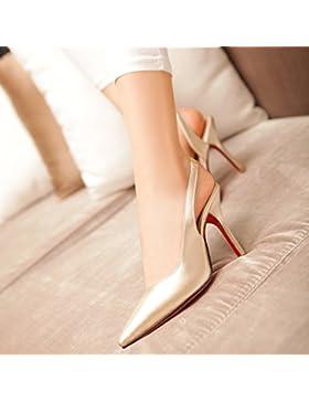 SDKIR-La signora sexy a tacco alto sandali primavera ed estate scarpe, scarpe di cuoio ,36, luce porta oro singolo
