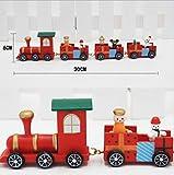Weihnachtshölzerner kleiner Zug, hölzernes Weihnachten Vier kleine Zug-Weihnachtsdekorationen