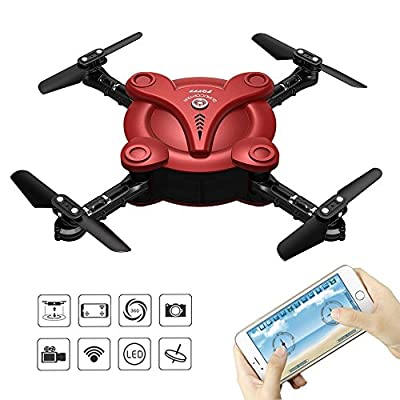 FPV Pocket Drone,Zantec RC Flexible Foldable Aerofoils Quadcopter Drone with FPV Camera and Live Video App and WiFi Phone Control UAV 6 Axis Gyroscope gravity RTF Helicopter (Remote Control and Battery, Red) …