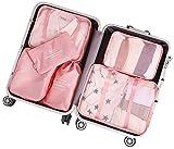 Arxus 6 Set Cubes de Voyage Voyage Organisateurs Étanches Sac à Linge Bagages Pochettes de Compression (Rose)