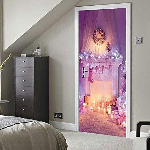 yuanshangzhuanmai 3D Pegatinas de Puerta Chimenea de Navidad Rosa 95X215CM Adhesivo de...