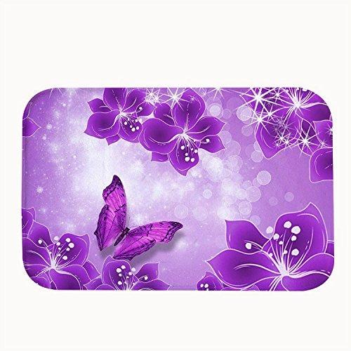 Rioengnakg Vivid Lila Blumen und Schmetterling Teppich Eintrag Wege Outdoor Rutschfeste Fußmatte, Korallenvlies, 20