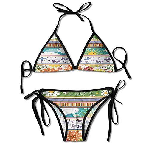Swimsuit Boys Long Sleeve Daisy Flowers Butterflies Sun Clouds Printing Bikini Butterfly Thong Sandal