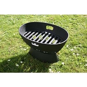 Garden bbq heavy duty cast iron fire pit brazier fp065b for Amazon prime fire pit