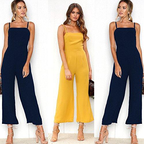 Longwu Femmes Sexy Spaghetti Strap Backless Jumpsuit Mode Large Jambe Taille Haute Pantalon