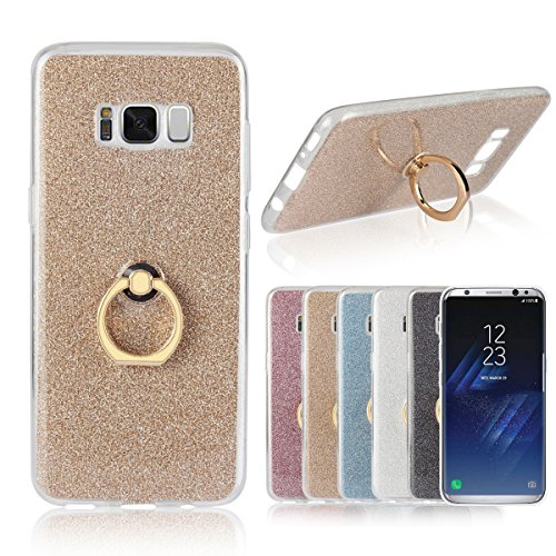 Artfeel Coque pour Samsung Galaxy S8, Bling Briller Clair Transparent Ultra Mince Couverture,Doux TPU Silicone avec Anneau Titulaire Stand Antichoc Arrière Housse,Or