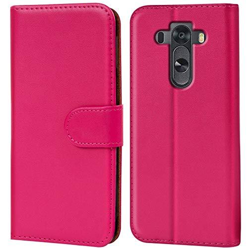 Verco G3S Hülle, Handyhülle für LG G3 S Tasche PU Leder Flip Case Brieftasche - Pink