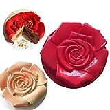 Joyeee Silicone Cottura Stampi Antiaderente, Stampo per Torta in Silicone a Forma di Rosa Fiore, 30cm, Stampo in Silicone per Torte, Muffin, Pane, Crostate, Torte di Compleanno