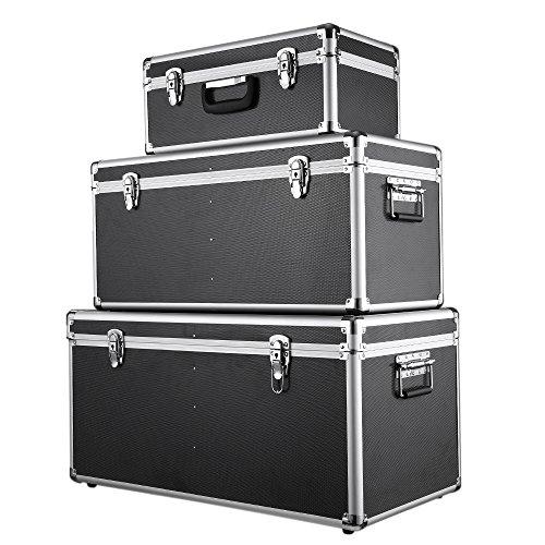 iKayaa 3er Set Transportkoffer Aluminiumkoffer Werkzeugkoffer mit Aluminiumrahmen und ABS Schwarz