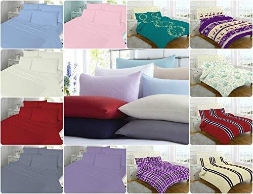 Lujo 3pc Juego de hojas de franela (sábana bajera + sábana + 2fundas de almohada) ~ 100% cepillado algodón ~ 8colores y tallas, Algodón/poliéster, EVAN...