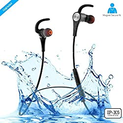 ZAAP AQUA MAGNETO Bluetooth Waterproof Headphone + Free Carry Case, IP-X5 Wireless 4.1 Bluetooth Technology, Magnetic Earbuds, Universal Compatibility Secure Fit for Sports, Gym, Running & Outdoor with Built-in Microphone [Black]