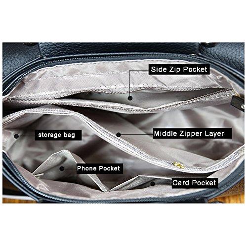 Yoome Upscale Lichee Pattern Top Griff Handtaschen Vintage Satchel Taschen Für Frauen Flap Bag - Rot Grau
