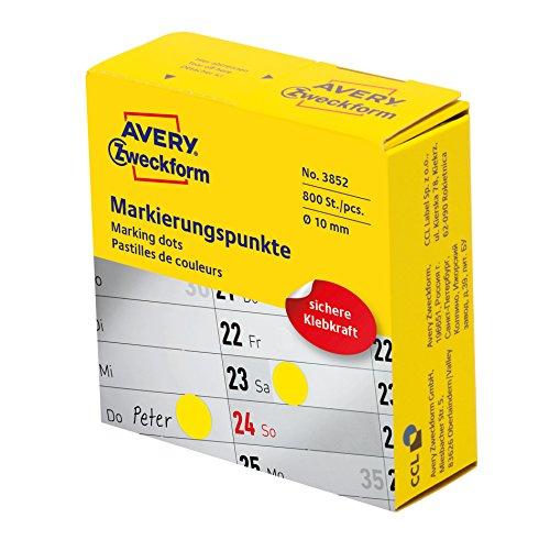 Avery Zweckform etiqueta 10mm Punto YE Marcadores, 800ST