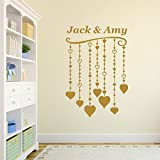 Personalized Hearts Vinyl Wall Art Stickers, wall paintings, decal - any name (Hearts Design)