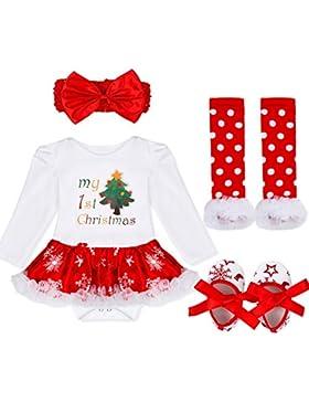 iiniim 4tlg.Baby Mädchen Bekleidungsset Weihnachten Kostüm Langarm Bodysuit Outfits Strampler+Beinwärmer+Schuhe...