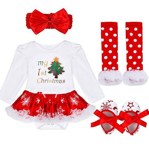 iiniim 4tlg.Baby Mädchen Bekleidungsset Weihnachten Kostüm Langarm Bodysuit Outfits Strampler+Beinwärmer+Schuhe+Stirnband Für 3-18 Monate Weihnachtsbaum 62-68/3-6 Monate
