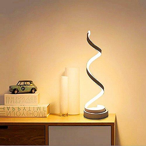 ELINKUME spirale LED lampe de table, incurvée lampe de bureau LED, 12W lumière blanc chaud, creative acrylique LED lampe de modélisation parfaite pour chambre à coucher salon (blanc)