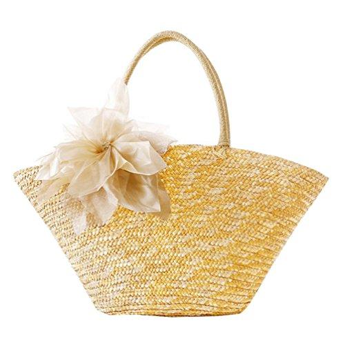 YOUJIA Damen Strandtaschen Stroh Taschen Totes Blumen Handtaschen Shopper Boho Schultertaschen #4 Stroh