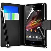 Supergets® Schlichte Einfarbige Hülle für Sony Xperia M C1904 Brieftasche in Lederoptik, Schale mit Karteneinschub, Etui, Buchstil Geldbörse, Mit 2 Schutzfolien, 2 Eingabestifte